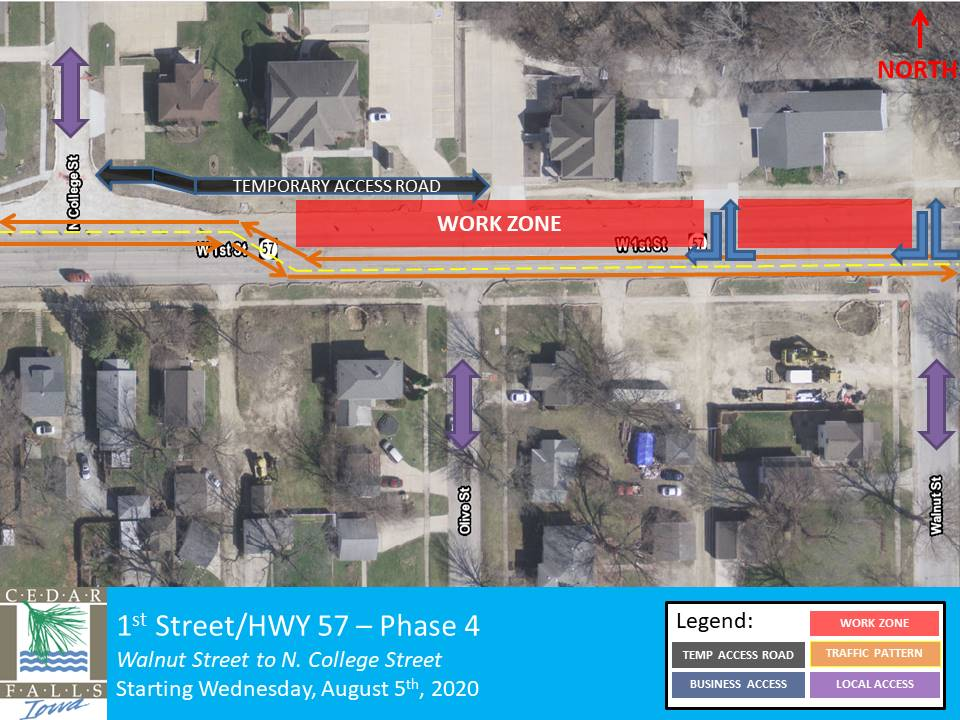 1st Street Phase 4 Closure map