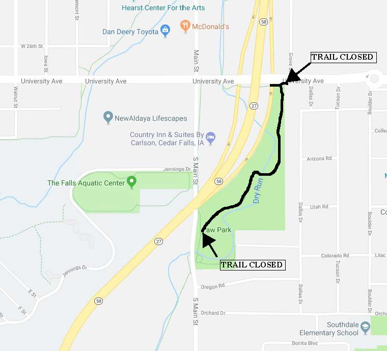 Map of trail closure along the corridor